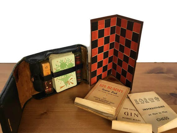 Welcraft travel game set vintage gin rummy chess and checkers complete