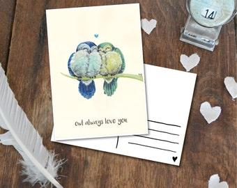 Owl always love you - Postcard with Illustration, owl owls together forever
