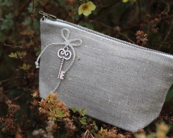 "Linen Cosmetic Bag ""The Key"" - Beautiful Linen Gift - Cosmetic Storage - Cosmetic Pouch"