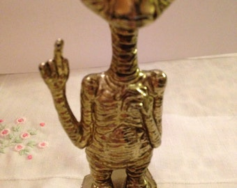 E T Extraterrestrial Gold Toned Statue