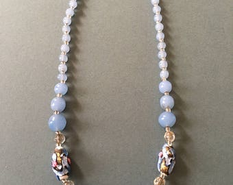 Art Deco Glass Beaded Necklace Pale Blue with Foil Look Beads & White Seperators
