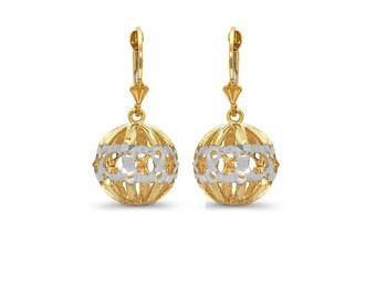14k solid gold two tone ball lever back drop earrings. diamond cut earrings.