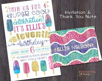 Popsicle Birthday Party Invitation and/or Thank You Notes with Envelopes - Watercolor Popsicle Party Invitation