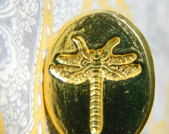 Elegant Brass Victorian Style Dragonfly Wax Seal Stamp. Detailed Decorative Grip. Made in Italy. Comes w/Postable Bronze Sealing Wax Sticks.