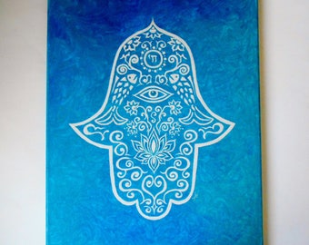 Original Hamsa Painting on Canvas 16 X 20 Home Blessings Spiritual Painting Evil Eye Protection Hamsa Wall Hanging Wall Decor Blue Painting