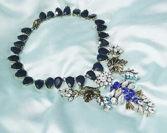 Statement Necklace blue brass statement chain necklace