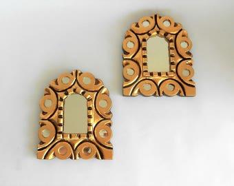 "6.75""H, Wall Mirrors, Gold Mirrors, Decorative Wall Mirrors, Small Wall Mirrors, Mirrored Mirrors, Gold Leaf Mirrors, Item GLM1012"