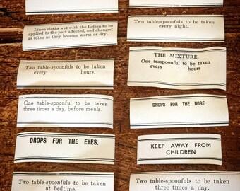 Original apothecary or chemist labels for vintage or antique medicine bottles antique medical collector's labels