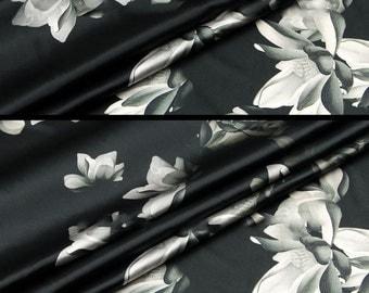 Floral Printed Silk Fabric - Silk Crepe de Chine - Silk CDC Fabric with Magnolia Flower Print - SF2017-2