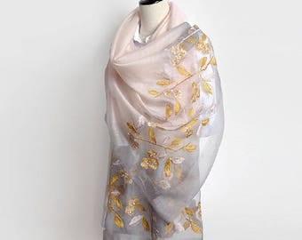 Silk Embroidery Scarf - Gradient Color Silk Scarf - Gradient Color  Silk Chiffon Scarf - Gradient Color Silk Embroidery Scarf - AS2017-1