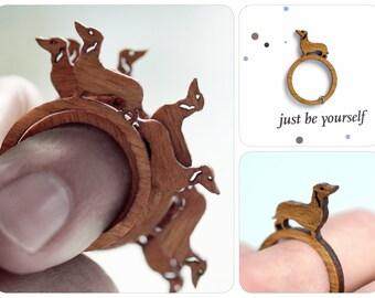 dachshund, animal ring, sausage dog, wood ring, laser cut jewelry, laser cut ring, gift sausage dog, sausage dog ring, dachshund jewelry