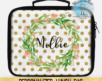 Lunch Bag - Monogrammed Lunch Box Lunch Tote Personalized Insulated Lunch Bag For Women Personalized Lunch Bag Polka Dots Lunch Bag