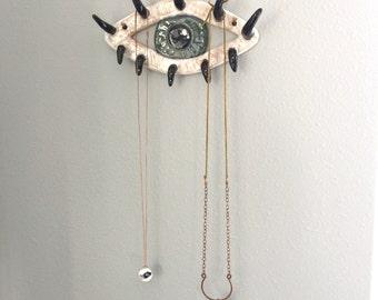 Ceramic Evil Eye Wall Art & Jewelry Holder, Eyelashes for Hooks, Necklace Earrings Storage, Eyelash Love, Makeup Artist Gift Idea, Lashes