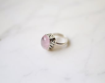 Silver Rose Quartz Ring, Rose Quartz Ring, Boho Ring