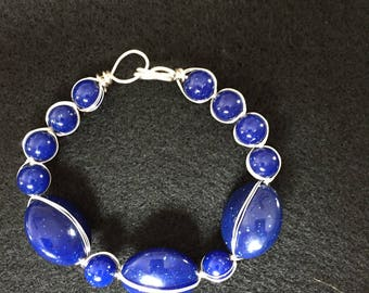 Wire wrapped blue and silver bracelet  9 inches