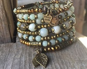 SALE Seasonal Sparkler Multi Strand Brass Memory Wire Coil Bracelet With Amazonite Gemstones FREE SHIPPING