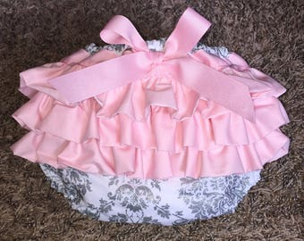 Pretty Pink White and Grey Ruffled Diaper Cover
