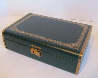 Vintage Hunter Green And Gold Farrington  Faux Leather Jewelry  Jewellery Jewellry Box Storage Organizer Decor