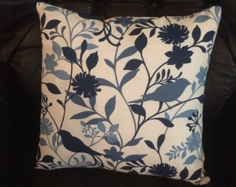 Pillow cover. Decorative Pillow cover. throw pillow. accent pillow. cushion cover. Blue pillow. bird print. Navy blue backing. all sizes.
