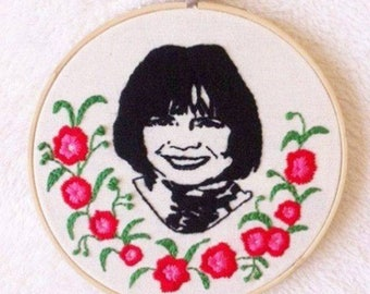 Anne Rice embroidery hoop art/handmade embroidery/writer embroidery