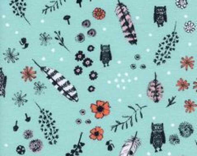Dream Owl in Mint- Cozy- Brushed Cotton Twill- Sarah Watts for Cotton and Steel