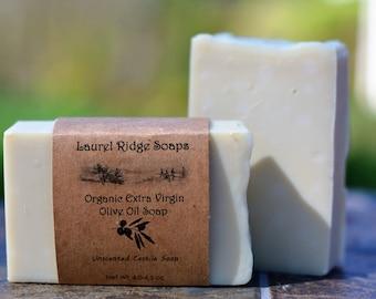 Organic Extra Virgin Olive Oil  Unscented Castille Soap --  100% Olive Oil Soap -- (VEGAN)