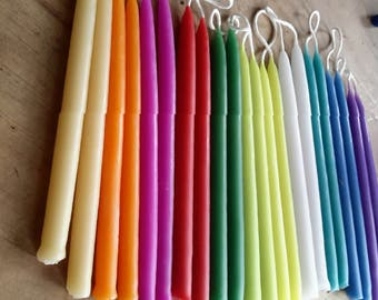 22 Festive Rainbow Colored Beeswax Candles. 5 inches x 3/8 diameter. Pencil Thins. 11 colors, 22 beautiful  candles.