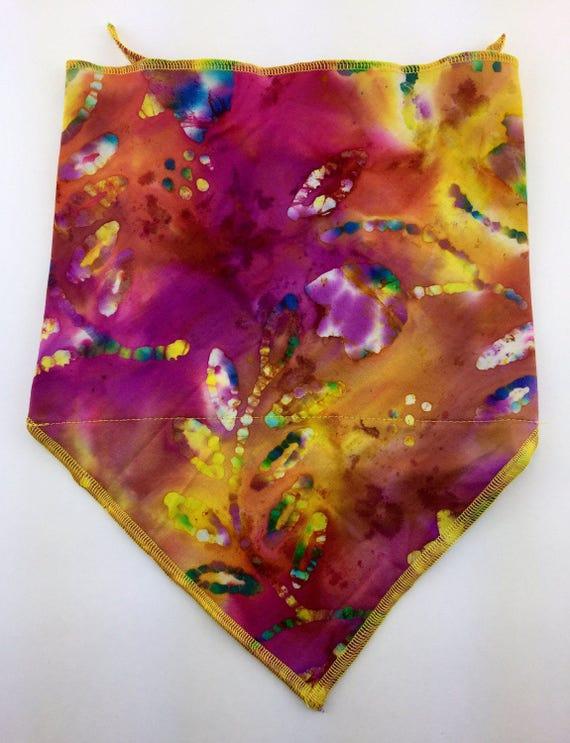 Cotton Batik Bandana w/ Vibrant Pink, Yellow and Multicolor Tie Dye Flower Print