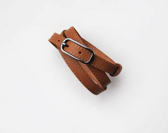 Narrow belt, Brown leather belt, Leather belt for women, ALL SIZES