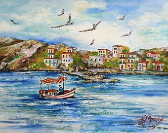 Acrylic and Watercolor Painting Art,Original painting, Wall art, Glances from the Greek islands,On the Sheashore