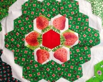 Strawberry grandmother flower garden quilt blocks, 53 hand pieced, fussy cut, circa 1975