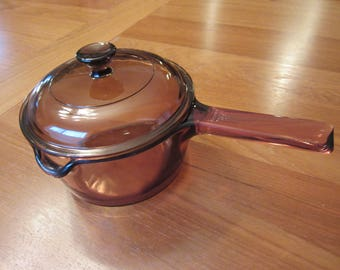 Pyrex Corning Visions Vision Cookware Amber 1 L Sauce Pan with Lid
