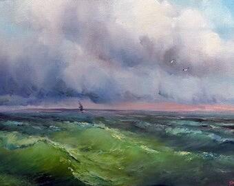 "Oil painting ""Sea"". Original."