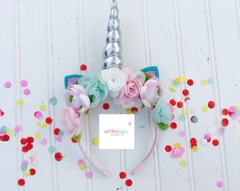 Floral unicorn ears headband/unicorn party halo/customizable/ws87