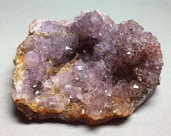Amethyst Flower Lilac Purple with Red Accents Golden Edge Crystal Cluster Mineral Specimen Rocks and Minerals Morocco