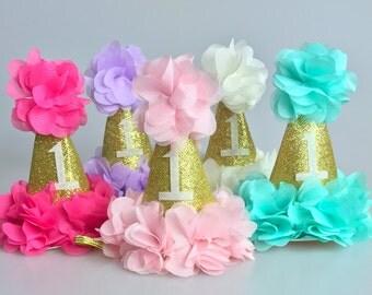 First Birthday Hat /Baby Girl Birthday Hat/ Gold Birthday Hat /Pink and Gold Birthday Hat / Purple and gold Birthday Hat / Aqua and Gold