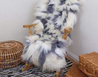 Icelandic Sheepskin Patchwork Rug Grey & White 60x160 cm   Amazing Softnes Best Quality   Genuine Leather - Large   Free UK Delivery