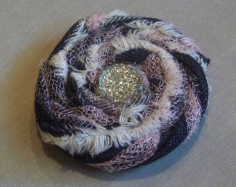 Shappy Chic Rosette - Frayed Denim,Pink Tulle, Faceted Rhinestone