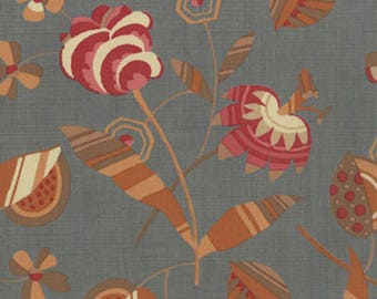 Moda Quilt Fabric - French General  - Petite Odile - Floral Print Faded Denim Background 13613-13 - By the Yard