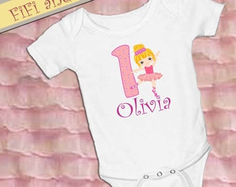 Personalized Ballerina Birthday Outfit, Number has ballet shoes, smash cake outfit, baby onesie pink purple