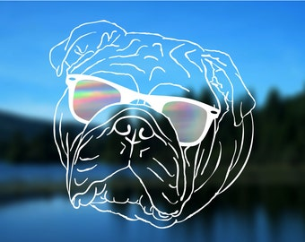 "Bulldog Decal, Dog, Vinyl Decal, Car Decal, Bumper Sticker, 5"" decal"