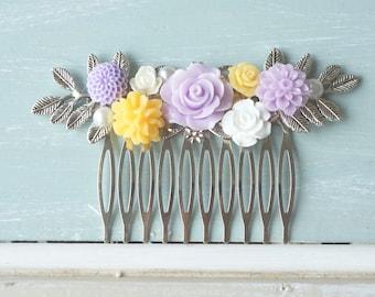 Hair Comb,  lilac, yellow, white resin flower hair accessory, bridal hair comb