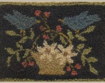 "Pattern: Punchneedle ""Bluebirds & Blooms"" - With Thy Needle and Thread - Country Stitches - Brenda Gervais"