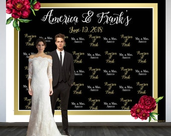 Wedding Photo Backdrop Custom Printed Personalized Step And Repeat Black