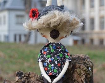 Art rabbit doll - Textile bunny - Fabric cloth doll - Soft stuffed toy -  Rag doll - Woodland animal - Strange doll.