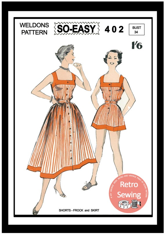 1950s Sewing Patterns | Dresses, Skirts, Tops, Mens 1950s Play Suit and Skirt Sewing Pattern - Rockabilly - Pin Up - Paper Pattern  AT vintagedancer.com