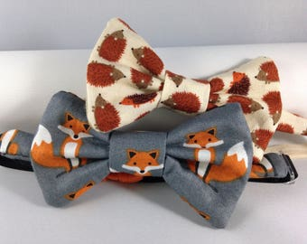 grey foxes cream hedgehogs boys bow tie neck wear adjustable elastic multiple sizes made to order