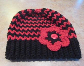 Crochet Hat Red and Black