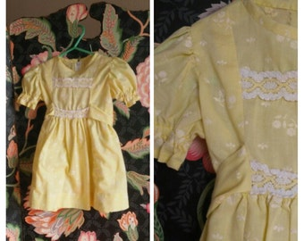 butter yellow toddler's spring dress muted easter pastel  old-fashioned  lace comfortable vintage