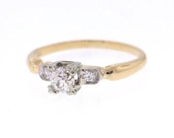 Vintage Engagement Ring, Mid Century Diamond Wedding Ring, .40ct Old Mine Diamond Yellow Gold Ring